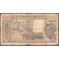 Niger - Pick 607Hb_1 - 1'000 francs - Série Y.002 - 1981 - Erreur numéro - Etat : B-