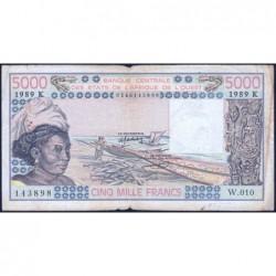 Niger - Pick 608He - 5'000 francs - Série W.010 (billet de remplacement) - 1989 - Etat : TB