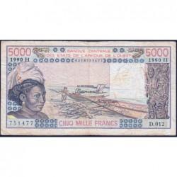 Niger - Pick 608Hm - 5'000 francs - Série D.012 - 1990 - Etat : TB-