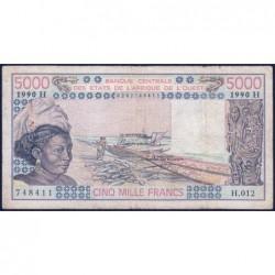 Niger - Pick 608Hm - 5'000 francs - Série H.012 - 1990 - Etat : TB-