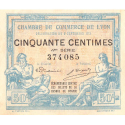 Lyon - Pirot 77-5 - 50 centimes - 4me série - 09/09/1915 - Etat : SUP+