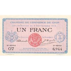 Lyon - Pirot 77-6 - 1 francs - 2ème série - 1915 - Etat : SPL