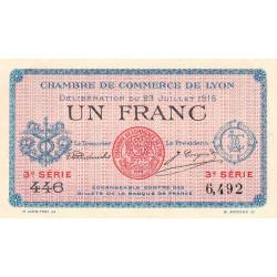 Lyon - Pirot 77-10 - 1 franc - 3e série 446 - 23/07/1916 - Etat : SUP+