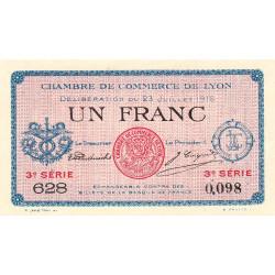 Lyon - Pirot 77-10 - 1 franc - 3e série 628 - 23/07/1916 - Etat : SUP+