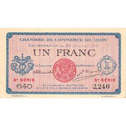 Lyon - Pirot 77-10 - 1 franc - 3e série 640 - 23/07/1916 - Etat : SUP