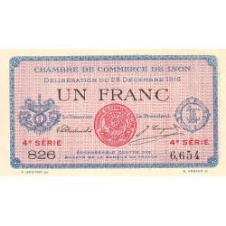 Lyon - Pirot 77-13 - 1 franc - 4e série 826 - 28/12/1916 - Etat : SPL