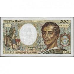 F 70-02 - 1982 - 200 francs - Montesquieu - Série U.011 - Etat : TB
