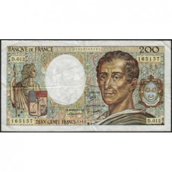 F 70-02 - 1982 - 200 francs - Montesquieu - Série D.012 - Etat : B+