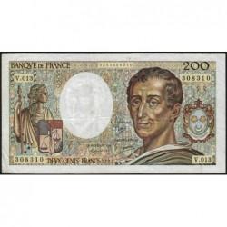 F 70-02 - 1982 - 200 francs - Montesquieu - Série V.013 - Etat : TB-