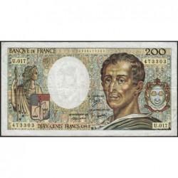 F 70-03 - 1983 - 200 francs - Montesquieu - Série U.017 - Etat : TB