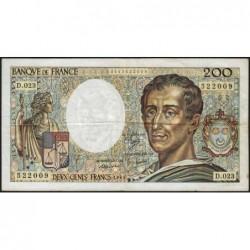 F 70-04 - 1984 - 200 francs - Montesquieu - Série D.023 - Etat : TB