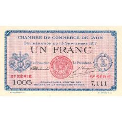 Lyon - Pirot 77-15 - 1 franc - 5e série 1005 - 13/09/1917 - Etat : SUP+