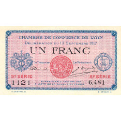 Lyon - Pirot 77-15 - 1 francs - 5ème série - 1917 - Etat : SPL