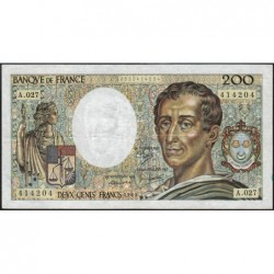 F 70-05 - 1985 - 200 francs - Montesquieu - Série A.027 - Etat : TB