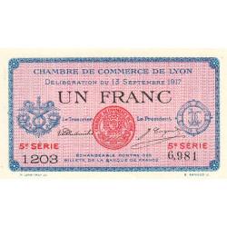 Lyon - Pirot 77-15 - 1 franc - 5e série 1203 - 13/09/1917 - Etat : NEUF