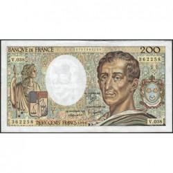 F 70-06 - 1986 - 200 francs - Montesquieu - Série V.038 - Etat : TTB-