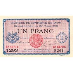 Lyon - Pirot 77-17 - 1 franc - 6e série 1293 - 27/03/1918 - Etat : SUP+