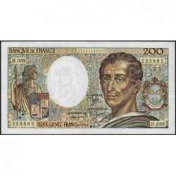 F 70-06 - 1986 - 200 francs - Montesquieu - Série D.039 - Etat : TTB+