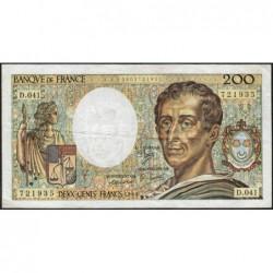 F 70-06 - 1986 - 200 francs - Montesquieu - Série D.041 - Etat : TB