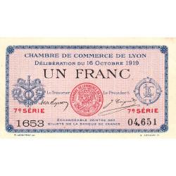 Lyon - Pirot 77-19 - 1 franc - 7e série 1653 - 16/10/1919 - Etat : SUP+