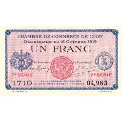 Lyon - Pirot 77-19 - 1 franc - 7e série 1710 - 16/10/1919 - Etat : SPL