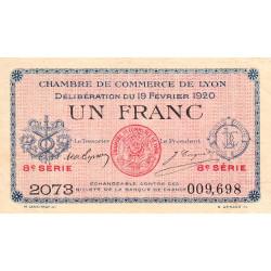 Lyon - Pirot 77-21 - 1 franc - 8e série 2073 - 19/02/1920 - Etat : TTB