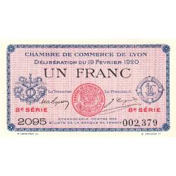 Lyon - Pirot 77-21 - 1 franc - 8e série 2095 - 19/02/1920 - Etat : SUP+