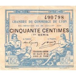 Lyon - Pirot 77-22 - 50 centimes - 17e série - 29/07/1920 - Etat : TTB
