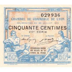 Lyon - Pirot 77-22 - 50 centimes - 20e série - 29/07/1920 - Etat : SUP+