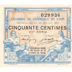 Lyon - Pirot 77-22 - 50 centimes - 20ème série - 1920 - Etat : SUP+