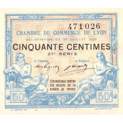 Lyon - Pirot 77-22 - 50 centimes - 21e série - 29/07/1920 - Etat : SUP+