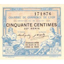 Lyon - Pirot 77-22 - 50 centimes - 22e série - 29/07/1920 - Etat : SUP+