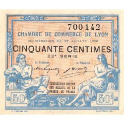 Lyon - Pirot 77-22 - 50 centimes - 22e série - 29/07/1920 - Etat : TTB