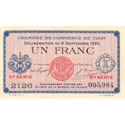 Lyon - Pirot 77-23 - 1 franc - 9e série 2136 - 09/09/1920 - Etat : SUP