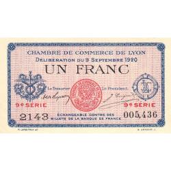 Lyon - Pirot 77-23 - 1 franc - 9e série 2143 - 09/09/1920 - Etat : SUP+