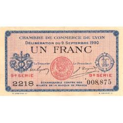 Lyon - Pirot 77-23 - 1 franc - 9e série 2218 - 09/09/1920 - Etat : TTB