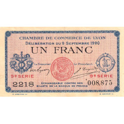 Lyon - Pirot 77-23 - 1 francs - 9ème série - 1920 - Etat : TTB