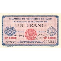 Lyon - Pirot 77-25 - 1 francs - 10ème série - 1921 - Etat : SUP+