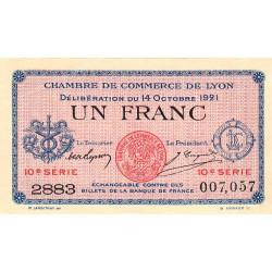 Lyon - Pirot 77-25 - 1 francs - 10ème série - 1921 - Etat : SUP