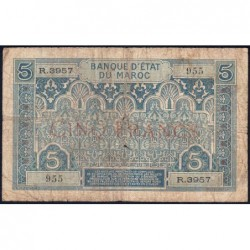 Maroc - Pick 9_4 - 5 francs - Série R.3957- 1934 - Etat : B+