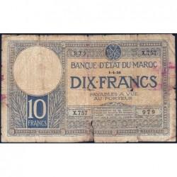 Maroc - Pick 11b_2 - 10 francs - Série X.757 - 01/04/1926 - Etat : AB