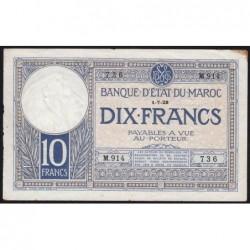 Maroc - Pick 11b_3 - 10 francs - Série M.914 - 01/07/1928 - Etat : TTB