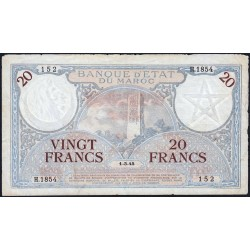 Maroc - Pick 18b_3 - 20 francs - Série H.1854 - 01/03/1945 - Etat : TTB