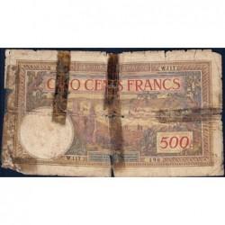 Maroc - Pick 15b - 500 francs - Série W.117 (billet de remplacement) - 08/06/1946 - Etat : AB-