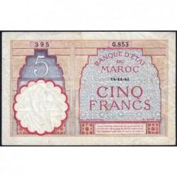 Maroc - Pick 23Ab - 5 francs - Série G.853 - 14/11/1941 - Etat : TTB-