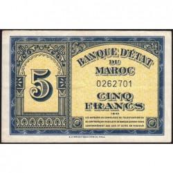 Maroc - Pick 24_1a - 5 francs - 01/08/1943 - Etat : TTB+