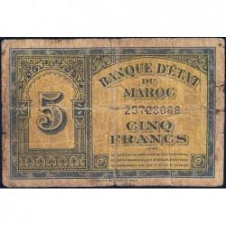 Maroc - Pick 24_2 - 5 francs - 01/03/1944 - Etat : B