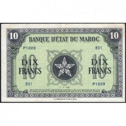 Maroc - Pick 25_3 - 10 francs - Série P1223 - 01/03/1944 - Etat : SUP