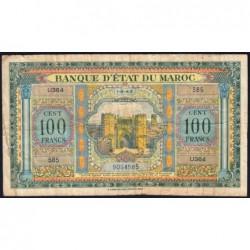 Maroc - Pick 27_2 - 100 francs - Série U364 - 01/08/1943 - Etat : TB-