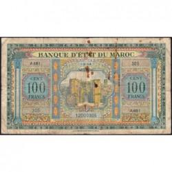Maroc - Pick 27_3 - 100 francs - Série A481 - 01/03/1944 - Etat : B+